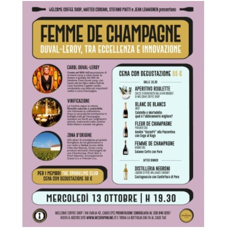 """Partecipazione Evento """"Femme de Champagne"""" - Welcome Coffee Shop"""